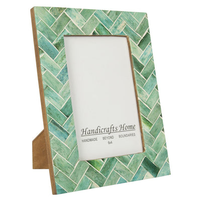 4x6 Nature's Green Bone Inlay Handmade Picture Frames