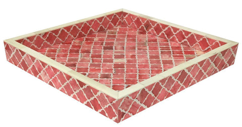 12x12'' Decorative Tray Moroccan Bone Inlay Ottoman Trays - Red