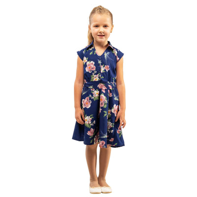 Girls Kids Vintage Style Collared Button down Dresses Floral Navy Age 3 – 12 Years