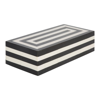 Concentrics Decorative Jewelry Storage Box Black and White - 10x4.5x4 Inch