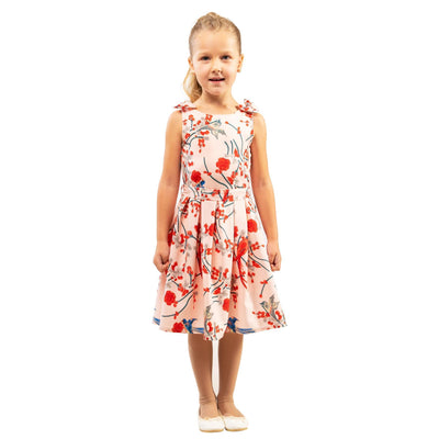 Girls Kids Vintage Style Shoulder Bow Dresses sizes from Bird Pink Age 3 – 12 Years