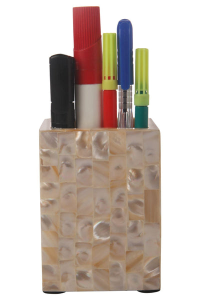 Pen Holder Mother of Pearl Artwork Caddy Pencil Cup - White
