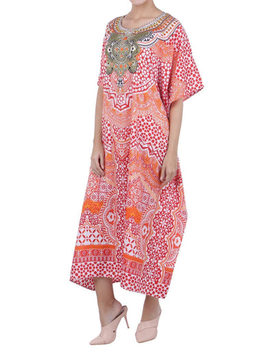 Women's Kaftan Tunic Kimono Long Caftan Embellished Maxi Dress Free Sizes