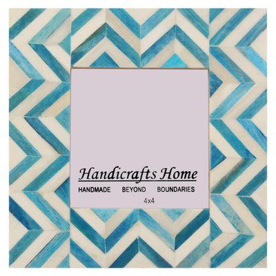 Picture Frames Chevron Handmade Photo Frame 4x4 - Turquoise