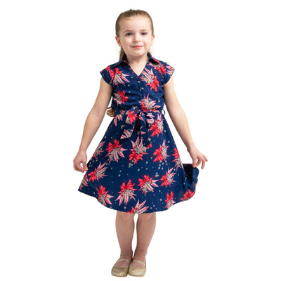 Girls Kids Vintage Style Collared Button down Dresses Butterfly Navy Age 3 – 12 Years