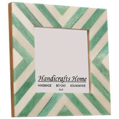 4x4 Picture Frames Chevron Pattern Bone Inlay - Green