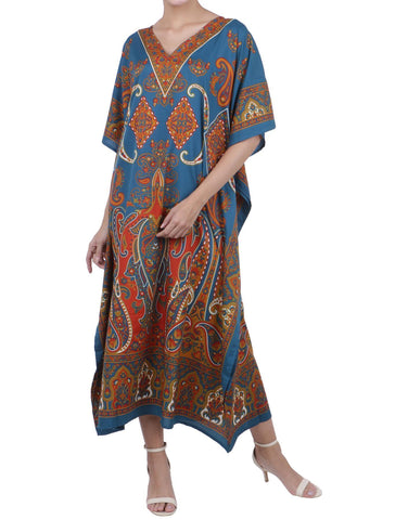 Kaftan Tunic Kimono Dress Ladies Maxi Caftans Teal - 102