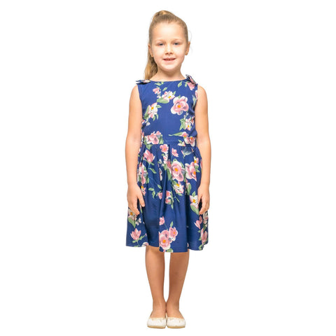 Girls Kids Vintage Style Shoulder Bow Dresses sizes from Floral Navy Age 3 – 12 Years