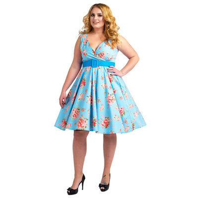 Floral Bridesmaid Dresses 1940's Rockabilly Plus Size Braid Style Blue