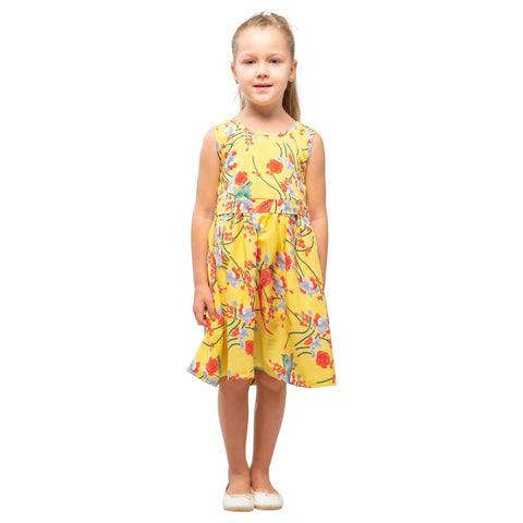 Girls Kids Vintage Audrey Hepburn Style sizes Bird Yellow Age 3 – 12 Years