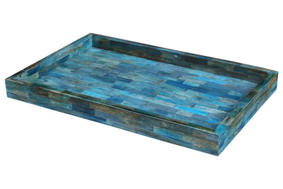 Verdigris Ideal Ottoman Tray Bone Inlay Serving or Decorative Tray - 11x17 Inches