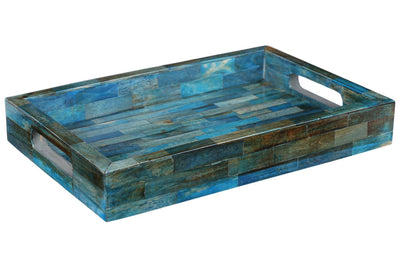 Verdigris Ideal Ottoman Tray Bone Inlay Serving or Decorative Tray - 12x8 Inches