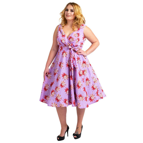 Women's Fashion Clothing Retro Butterfly Rockabilly Vintage Dresses Purple