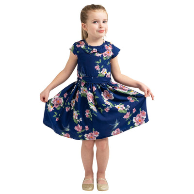 Girls Kids Vintage Style Peter Pan Collar Dresses Floral Navy Age 3 – 12 Years