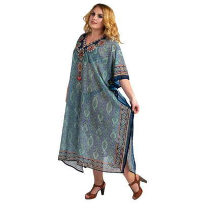 Stonework and Hand Embroidered Kaftans Blue