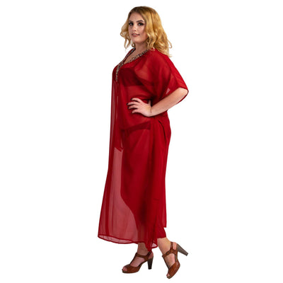 Kaftan Hand Embroidered Caftans Kimono Summer Maxi Dress 139-Red
