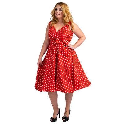 Womens Polka Dot 40s 50s Vintage Dresses Red, Available 5 Sizes
