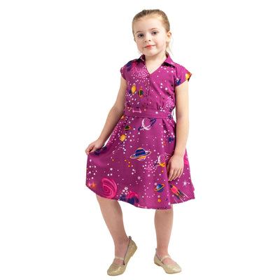 Girls Kids Vintage Style Collared Button down Dresses Galaxy Purple Age 3 – 12 Years