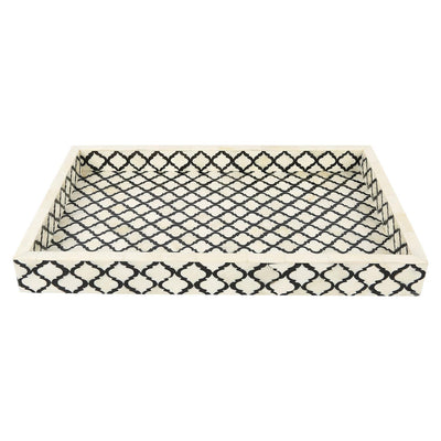 11x17'' Decorative Tray Moroccan Bone Inlay Ottoman Trays - Black