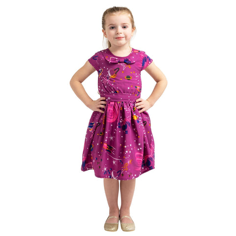 Girls Kids Vintage Style Peter Pan Collar Dresses Galaxy Purple Age 3 – 12 Years