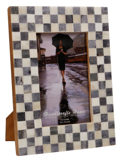 4x6 Checked Pattern Picture Frame Bone Inlay Frames