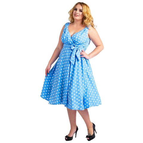 Womens Polka Dot 40s 50s Vintage Dresses Blue, Available 5 Sizes