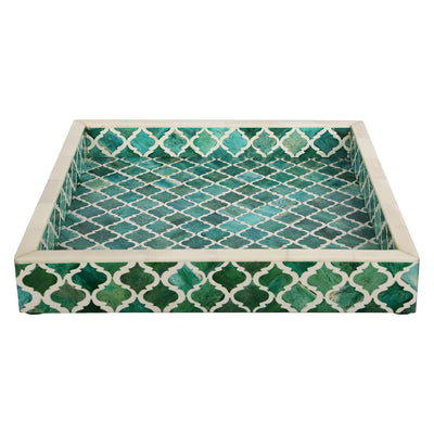 12x12'' Decorative Tray Moroccan Bone Inlay Ottoman Trays - Green