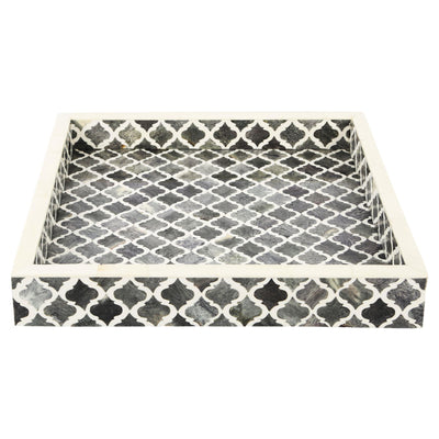 12x12'' Decorative Tray Moroccan Bone Inlay Ottoman Trays - Grey