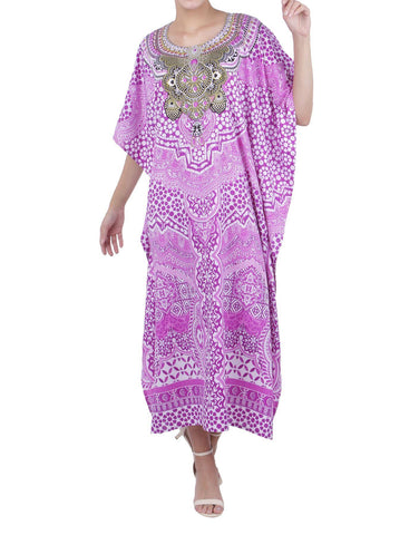 Women's Purple Kaftan Tunic Kimono Long Caftan Embellished Maxi Dress, 3 Sizes
