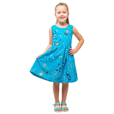 Girls Kids Vintage Audrey Hepburn Style sizes Galaxy Turquoise Age 3 – 12 Years