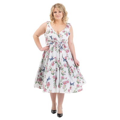 Women's Fashion Clothing Retro Floral Rockabilly Vintage Dresses White