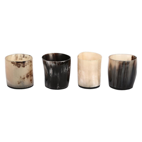 Antique Whiskey Shot Glass Cup Whisky Real Horn Vintage - Set of 4