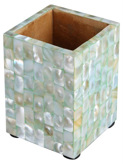 Pen Holder Mother of Pearl Artwork Caddy Pencil Cup - Green