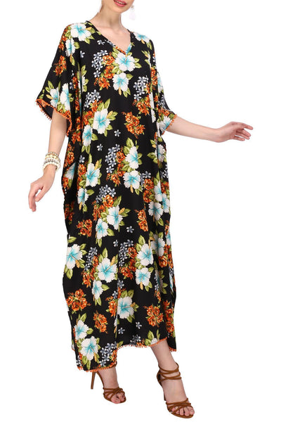 Kaftan Tunic Kimono Dress Ladies Maxi Caftans, Available in 5 Options