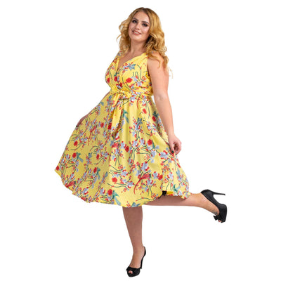 Women's Fashion Clothing Retro Bird Rockabilly Vintage Dresses Yellow