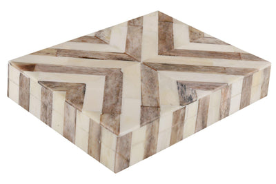 Decorative Chevron Jewelry Travel Gift Boxes - Brown-White