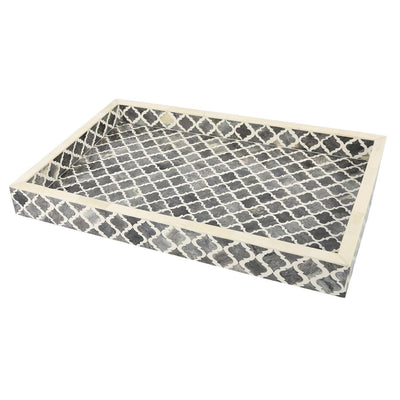 11x17'' Decorative Tray Moroccan Bone Inlay Ottoman Trays - Grey