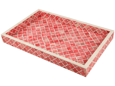 11x17'' Decorative Tray Moroccan Bone Inlay Ottoman Trays - Red