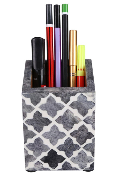 Pen Holder Moroccan Art Inspired Caddy Pencil Cup - Slate White - Quatrefoil