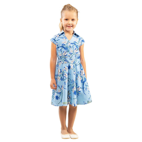 Girls Kids Vintage Style Collared Button down Dresses Bird Blue Age 3 – 12 Years