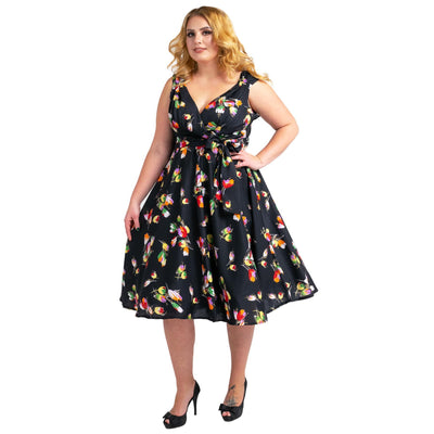 Women's Floral 40s 50s Vintage Dresses Black, Available 5 Size