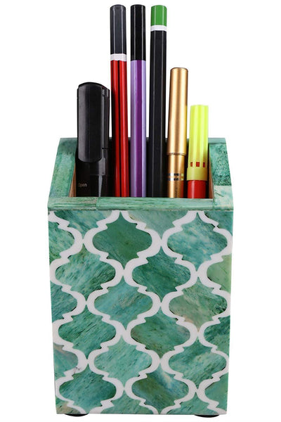 Moroccan Pattern Pen & Pencil Holder Caddy Desk Cup - Green