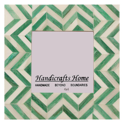 4x6 Picture Frames Chevron Pattern Bone Inlay - Green