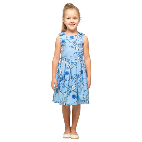 Girls Kids Vintage Style Shoulder Bow Dresses sizes from Bird Blue Age 3 – 12 Years