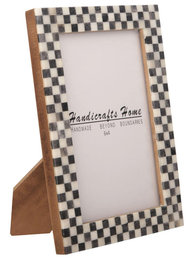 Checked Pattern Picture Frames Bone Inlay Photo Frame - 4x6