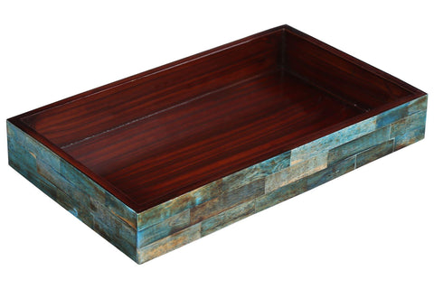 Verdigris Ideal Ottoman Tray Bone Inlay Serving or Decorative Tray - 10x6 Inches