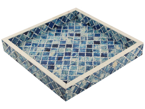 12x12'' Decorative Tray Moroccan Bone Inlay Ottoman Trays - Blue