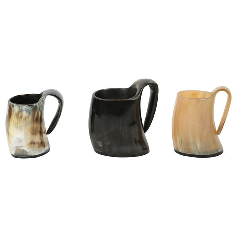 Whiskey Shot Glasses Real Horn Mug Cup - Set of 3 Pcs