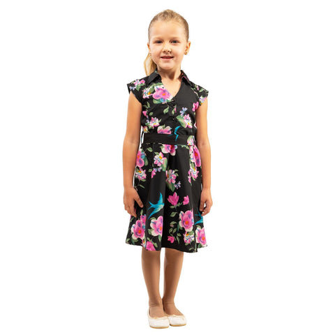 Girls Kids Vintage Style Collared Button down Dresses Floral Black Age 3 – 12 Years