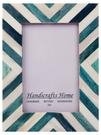 Picture Frames Chevron Pattern Bone Inlay 4x6 - Turquoise